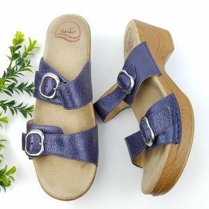 DANSKO Sophie Purple Leather Double Strap Sandals